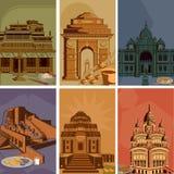 Tappningaffisch av det berömda gränsmärkestället med arvmonumentet i Indien stock illustrationer