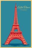 Tappningaffisch av Eiffeltorn i Paris den berömda monumentet i Frankrike Royaltyfri Fotografi