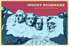 Tappningaffisch av Mount Rushmore den berömda monumentet i Förenta staterna Fotografering för Bildbyråer