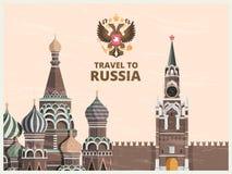 Tappningaffisch- eller loppkort med illustrationer av kulturella gränsmärken för kremlin ryss vektor illustrationer