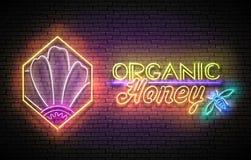 Tappningaffisch med blomman i honungskaka och organiska Honey Inscription Neonbokstäver Mall för banret, annonsering _ royaltyfri illustrationer