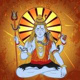 Tappningaffisch med den indiska guden Shiva för sammanträde på grungebakgrunden Vektor Illustrationer