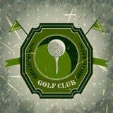 Tappningaffisch med golfboll Retro hand dragen golfklubb för vektorillustrationetikett Stock Illustrationer