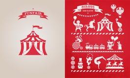 Tappningaffisch med karnevalet, rolig mässa, cirkus stock illustrationer