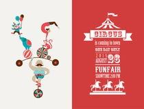 Tappningaffisch med karnevalet, rolig mässa, cirkus royaltyfri illustrationer
