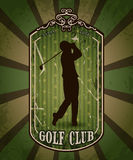 Tappningaffisch med konturn av mannen som spelar golf Retro hand dragen golfklubb för vektorillustrationetikett Royaltyfri Foto
