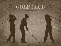 Tappningaffisch med konturn av mannen som spelar golf Retro hand dragen golfklubb för vektorillustrationetikett Royaltyfri Illustrationer
