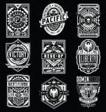 Tappningaffisch/uppsättning för emblem-/T-tröjadesignvektor royaltyfri foto