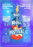 Tappningaffischen av Rock - och - rulla festivalen Den varma bränningen vaggar partiet Tecknad filmdesignbeståndsdel för affische Arkivbild
