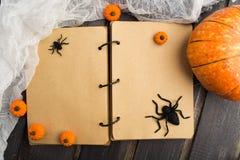 Tappninganteckningsbok med halloween garnering Royaltyfria Foton