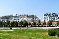 Tappningarkitektur av bostads- byggnader i den i stadens centrum Wien staden Royaltyfria Bilder