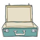 Tappningbagage & resväskaloppet Open är tom gullig illustrat Arkivbilder