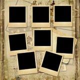 Tappningbakgrund med bunten av den gamla polaroidramen Royaltyfri Foto