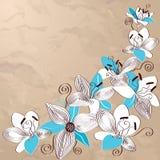 Tappningbakgrund med dekorativa liljablommor Arkivfoto