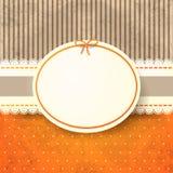 Tappningbakgrund med etiketten, i apelsin Arkivfoto