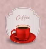 Tappningbakgrund med koppen kaffe och etiketten Arkivbild