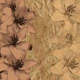 Tappningbakgrund med liljor Royaltyfri Bild