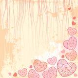 Tappningbakgrund med utsmyckade hjärtor Vektor Illustrationer