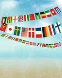Tappningbakgrund med världsbuntingflaggor. vektor illustrationer