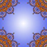Tappningbakgrundsram i cerulean blått, tangerinapelsin, turkosgräsplan & lavendelviolet Arkivfoto