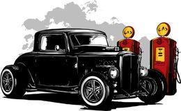 Tappningbil, garage för varm stång, hotrodsbil, bil för gammal skola, royaltyfri illustrationer