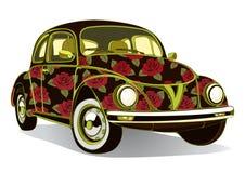 Tappningbil som dekoreras med rosor Retro blom- tecknad filmbilar som airbrushing också vektor för coreldrawillustration vektor illustrationer