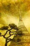 Tappningbild av den guld- stupaen stock illustrationer