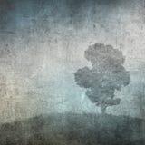 Tappningbild av en tree över grungebakgrund Royaltyfri Bild