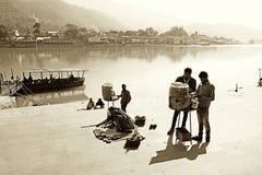 Tappningbild av indisk färjaport Arkivbild