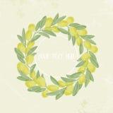 Tappningbildram av olivgröna filialer, krans, ställe för text Vektor Illustratio Royaltyfri Fotografi