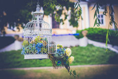 Tappningbröllopgarnering i trädgården Royaltyfria Foton