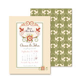 Tappningbröllopinbjudningar med blom- garnering Royaltyfria Bilder