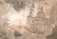 TappningBudapest vykort Royaltyfria Bilder