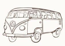 Tappningbuss, retro bil, målad färgläggningbok, hand-teckning, monokrom Royaltyfria Bilder