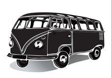 Tappningbuss, retro bil, svartvit teckning, hand-teckning, monokrom royaltyfri illustrationer