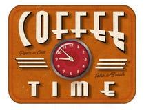 Tappningcoffee shoptecken med klockan Arkivfoto