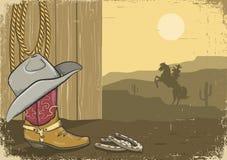 Tappningcowboybakgrund på gammalt skyler över brister   vektor illustrationer
