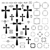Tappningdesign med gotiska kors och retro ramar Royaltyfria Bilder