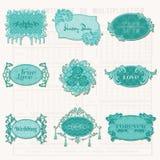 Tappningdesignbeståndsdelar för den gammala scrapbooken - märker och inramar Fotografering för Bildbyråer