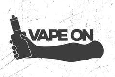 Tappningemblem med en elektronisk cigarett i hand stock illustrationer