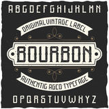 Tappningetikett stilsort namngav Bourbon Arkivbilder