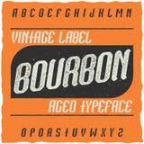 Tappningetikett stilsort namngav Bourbon Arkivfoto