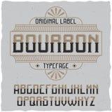 Tappningetikett stilsort namngav Bourbon Royaltyfria Bilder