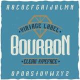 Tappningetikett stilsort namngav Bourbon Fotografering för Bildbyråer