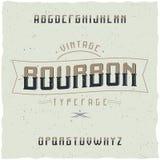 Tappningetikett stilsort namngav Bourbon Arkivfoton
