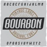 Tappningetikett stilsort namngav Bourbon Royaltyfri Fotografi