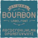 Tappningetikett stilsort namngav Bourbon Royaltyfri Bild
