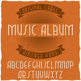 Tappningetikett stilsort namngav Musik Album Arkivbild