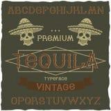 Tappningetikett stilsort namngav Tequila Arkivbilder