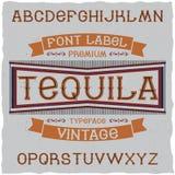 Tappningetikett stilsort namngav Tequila Arkivfoton